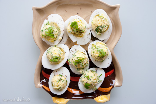 Green onion oil devilled egg recipe cooking momofuku at home in momofuku forumfinder Images